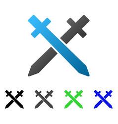 crossing swords flat gradient icon vector image