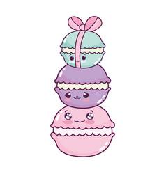 Cute food pile macaroon sweet dessert pastry vector