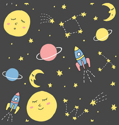 Cute seamless pattern with cosmic elements sleepy vector