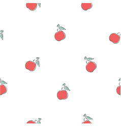 cute seamless pattern with red apples background vector image