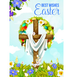 Easter cross greeting banner with egg and flower vector
