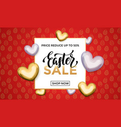 easter sale gold heart glitter poster vector image