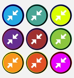 Exit full screen icon sign Nine multi colored vector
