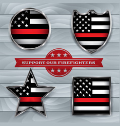 Firefighter support flag badge vector