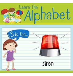 Flashcard alphabet S is for siren vector