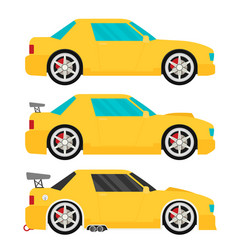 Flat racing car set eps 10 vector