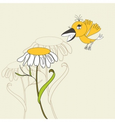 flower with bird vector image