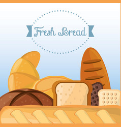 fresh bread baking organic health food vector image