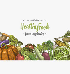 Fresh vegetables background with space for text vector
