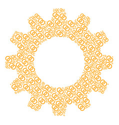 Gear wheel mosaic of wedding rings icons vector