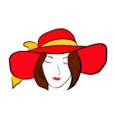 girl in red hat with vector image