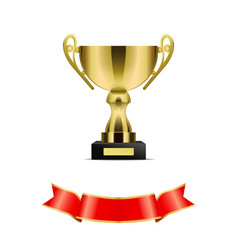 Gold trophy cup with red ribbon decoration vector