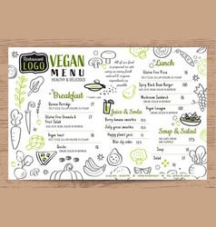 green organic food vegan restaurant menu board or vector image