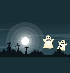 Halloween background with graveyard landscape vector