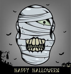 Halloween mummy head vector image