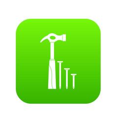 hammer and nails icon digital green vector image