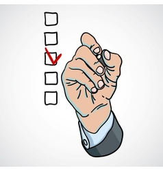 hand choosing one of the options vector image