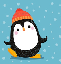 hand drawn cute penguin wearing red hat vector image