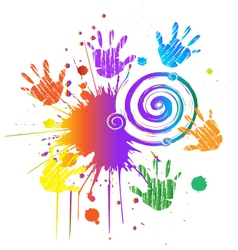 Hands print with ink splat vector