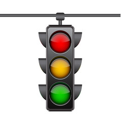 hanging traffic lights with all three colors on vector image