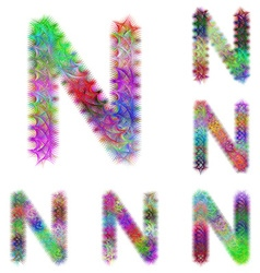 Happy colorful fractal font set - letter N vector image