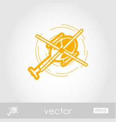 Helicopter outline icon summer vacation vector