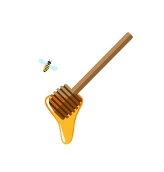 Honey dipper flying bee flat vector