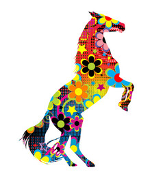 Horse on its hind legs with a colored floral vector
