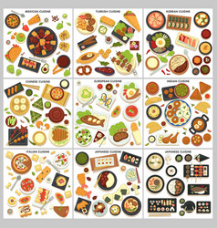 International cuisine menu food and cooking dishes vector