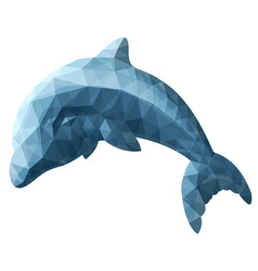 Isolated low poly art with stylized dolphin vector