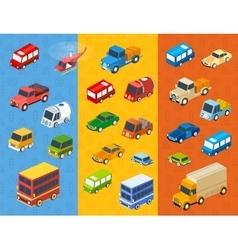 isometric flat cars vector image