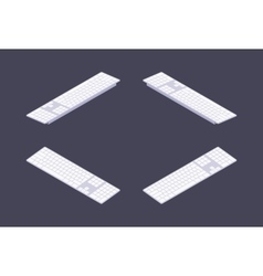 Isometric white PC keyboard vector image