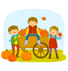 Kids in a pumpkin patch vector