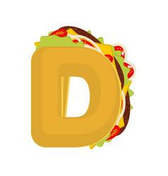 Letter d tacos mexican fast food font taco vector
