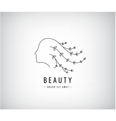 linear beauty logo woman face with hair vector image