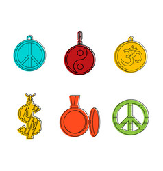 medallion icon set color outline style vector image