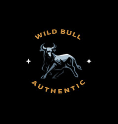 Muscular bull with horns vector