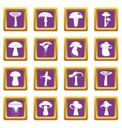 Mushroom icons set purple vector