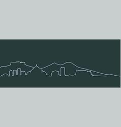 Naples single line skyline vector