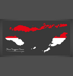 Nusa tenggara timur indonesia map with indonesian vector