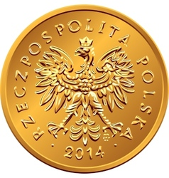 Obverse Polish Money two groszy copper coin vector