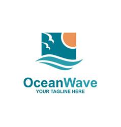 Ocean waves emblem vector