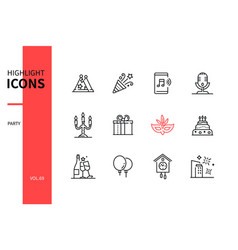 party and celebration - line design style icons vector image