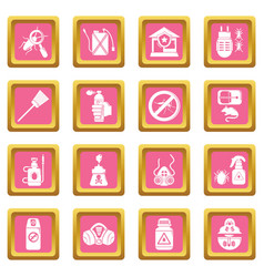 Pest control tools icons set pink square vector