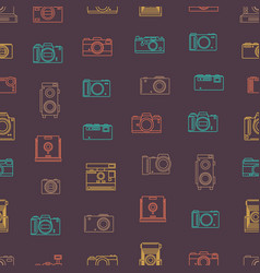 photo camera thin line seamless pattern background vector image