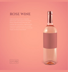 photorealistic bottle of rose wine on a pink vector image