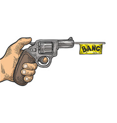 pistol with white flag engraving vector image