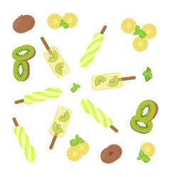 Popsicles top view vector
