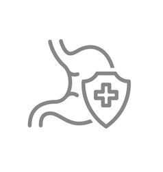 Protected stomach line icon treatment first aid vector
