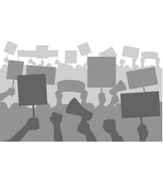 protesters people crowd silhouette protest vector image